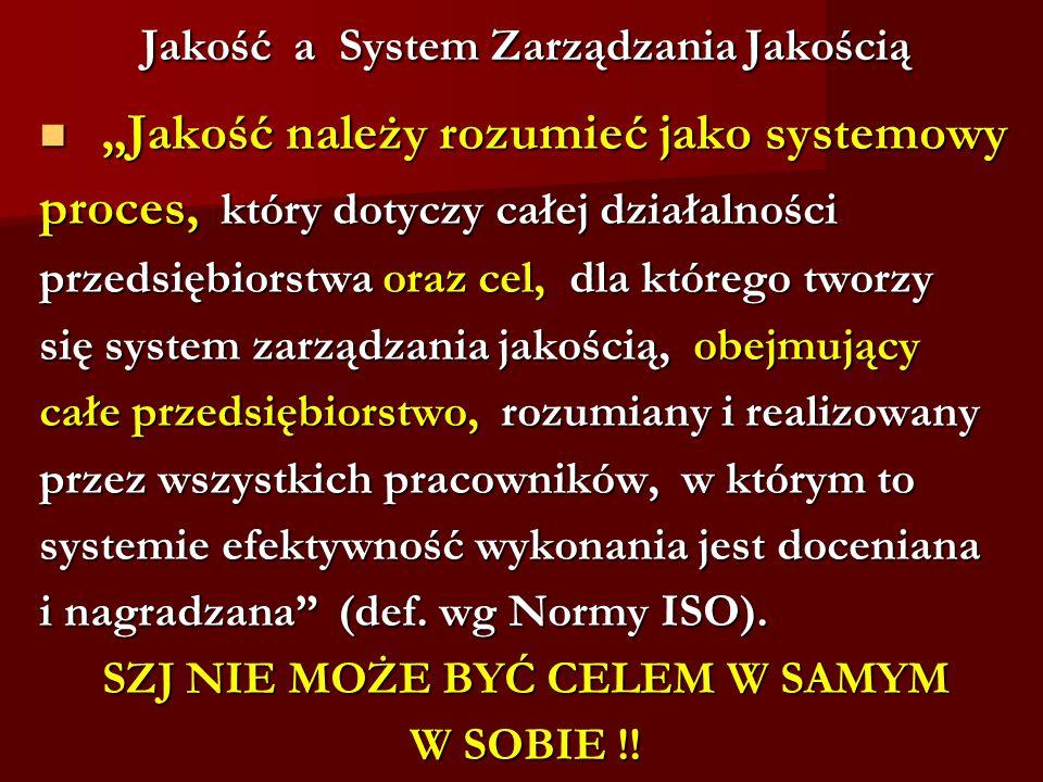 Jakość a System Zarządzania Jakością Jakość a System Zarządzania Jakością Jakość należy rozumieć jako systemowy Jakość należy rozumieć jako systemowy
