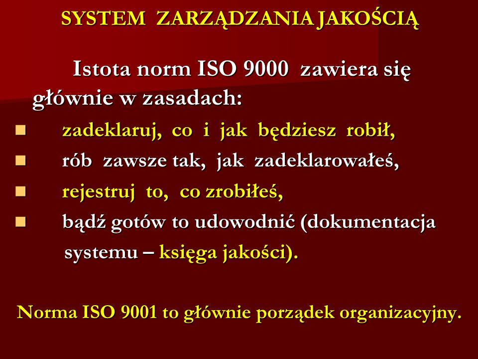 SYSTEM ZARZĄDZANIA JAKOŚCIĄ Istota norm ISO 9000 zawiera się głównie w zasadach: Istota norm ISO 9000 zawiera się głównie w zasadach: zadeklaruj, co i
