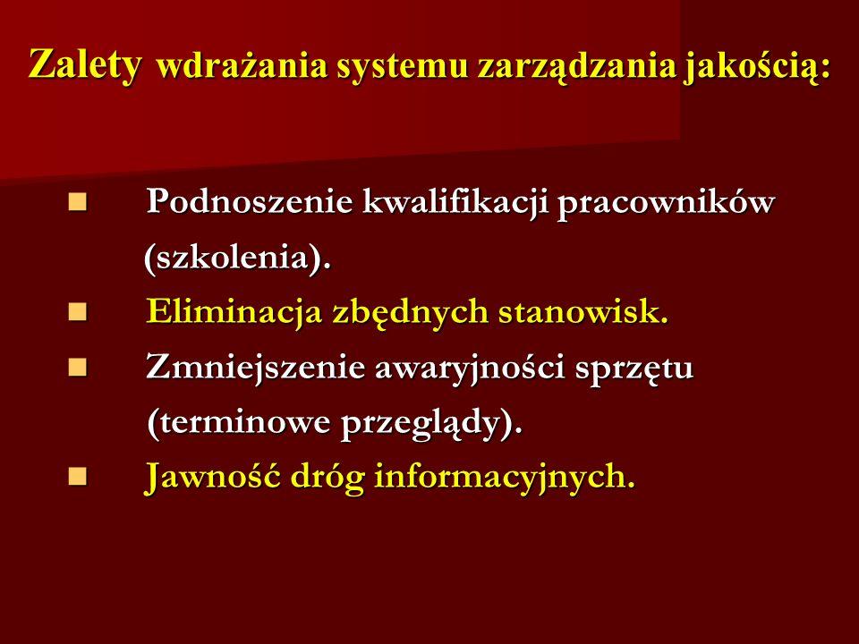 Zalety wdrażania systemu zarządzania jakością: Podnoszenie kwalifikacji pracowników Podnoszenie kwalifikacji pracowników (szkolenia). (szkolenia). Eli