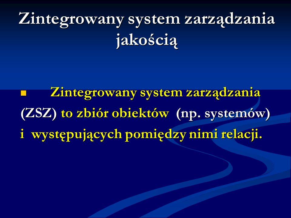 Zintegrowany system zarządzania jakością Zintegrowany system zarządzania Zintegrowany system zarządzania (ZSZ) to zbiór obiektów (np. systemów) i wyst