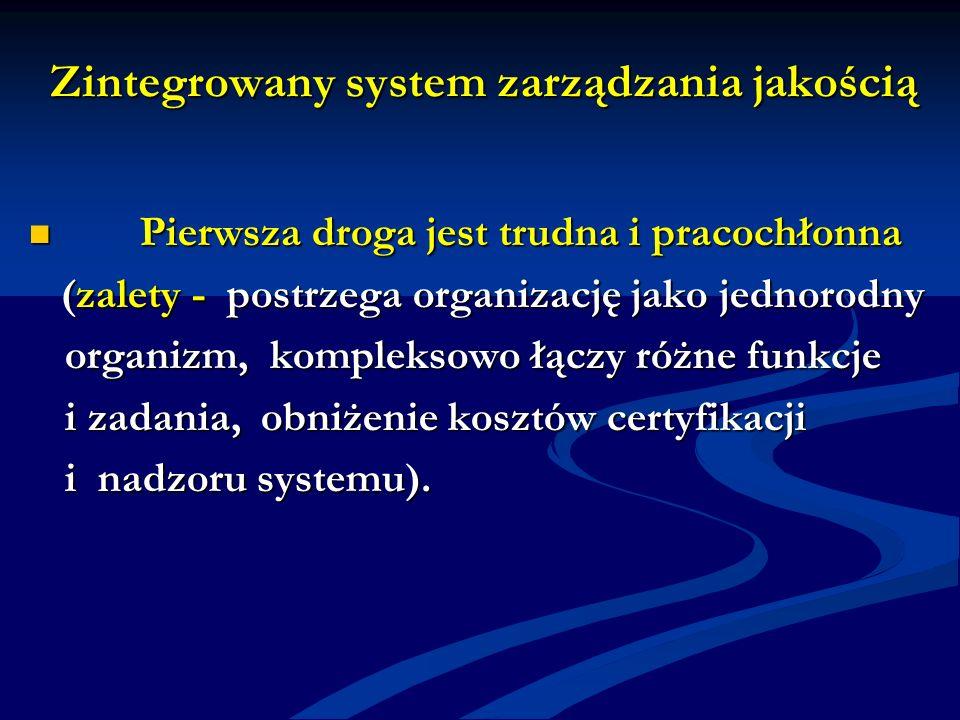 Zintegrowany system zarządzania jakością Pierwsza droga jest trudna i pracochłonna Pierwsza droga jest trudna i pracochłonna (zalety - postrzega organ