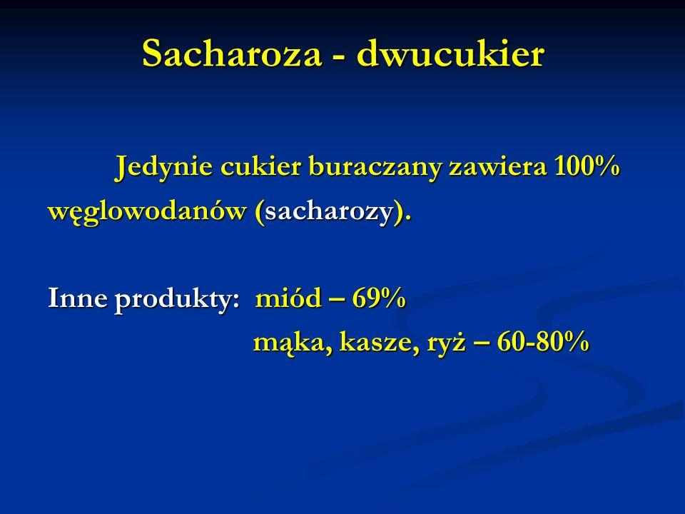 Sacharoza - dwucukier Jedynie cukier buraczany zawiera 100% węglowodanów (sacharozy). Inne produkty: miód – 69% mąka, kasze, ryż – 60-80%