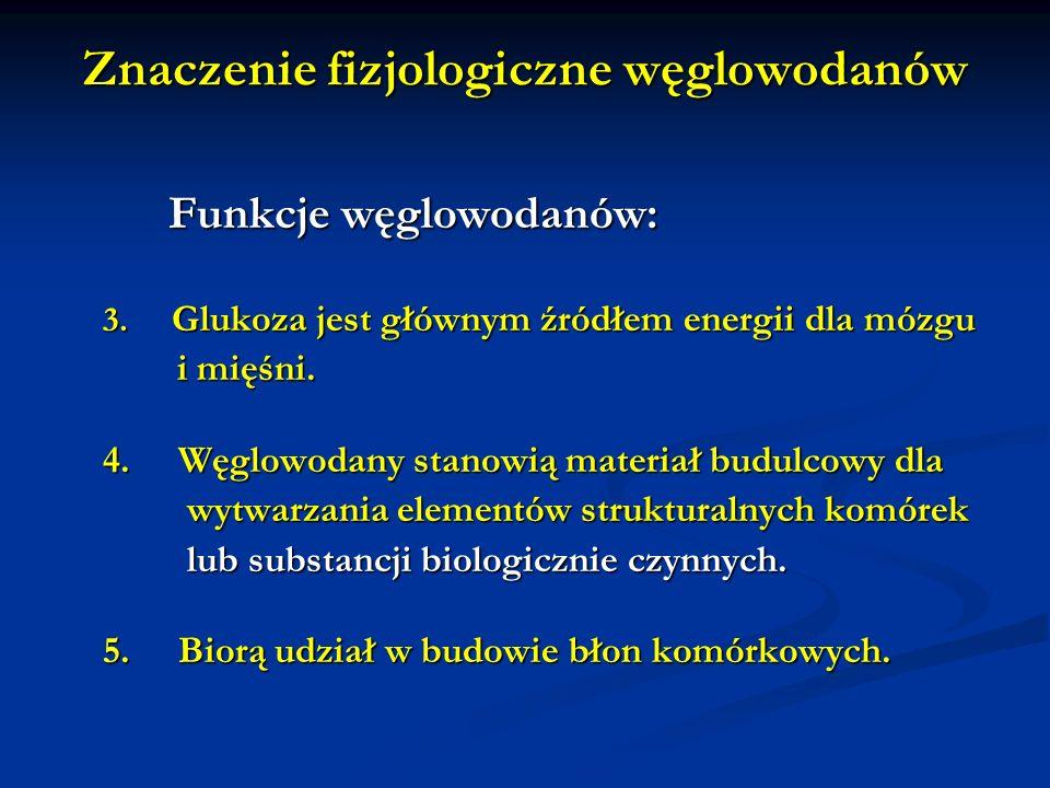 Znaczenie fizjologiczne węglowodanów Funkcje węglowodanów: Funkcje węglowodanów: 3. Glukoza jest głównym źródłem energii dla mózgu i mięśni. i mięśni.