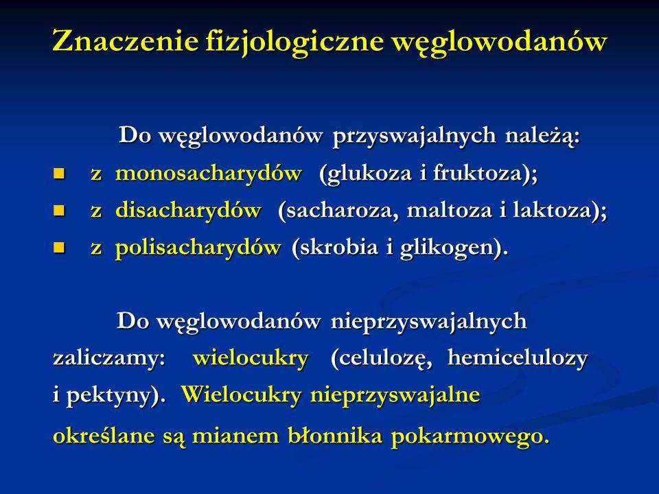 Znaczenie fizjologiczne węglowodanów Do węglowodanów przyswajalnych należą: Do węglowodanów przyswajalnych należą: z monosacharydów (glukoza i fruktoz