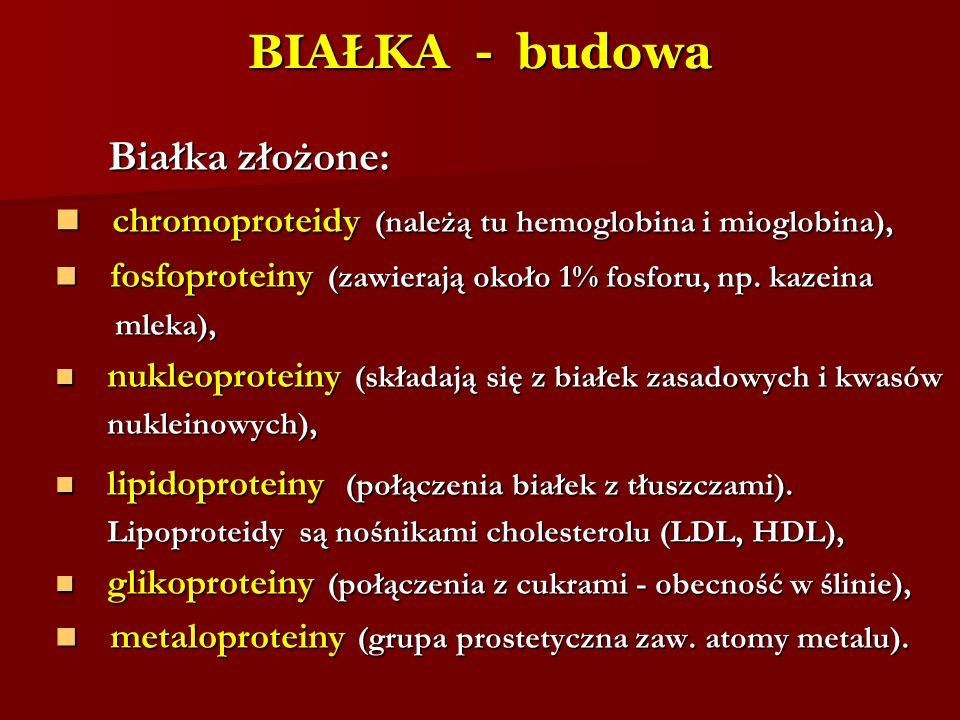 BIAŁKA - budowa Białka złożone: Białka złożone: chromoproteidy (należą tu hemoglobina i mioglobina), chromoproteidy (należą tu hemoglobina i mioglobin