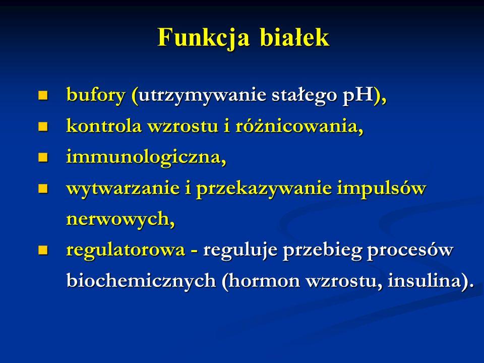 Funkcja białek bufory (utrzymywanie stałego pH), bufory (utrzymywanie stałego pH), kontrola wzrostu i różnicowania, kontrola wzrostu i różnicowania, i