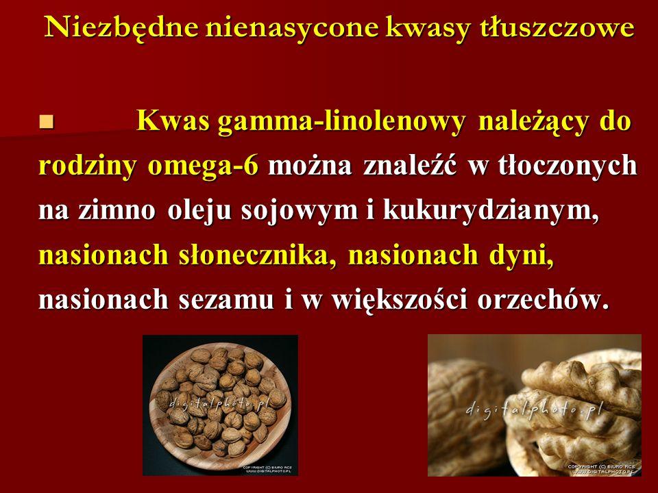 Niezbędne nienasycone kwasy tłuszczowe Kwas gamma-linolenowy należący do Kwas gamma-linolenowy należący do rodziny omega-6 można znaleźć w tłoczonych