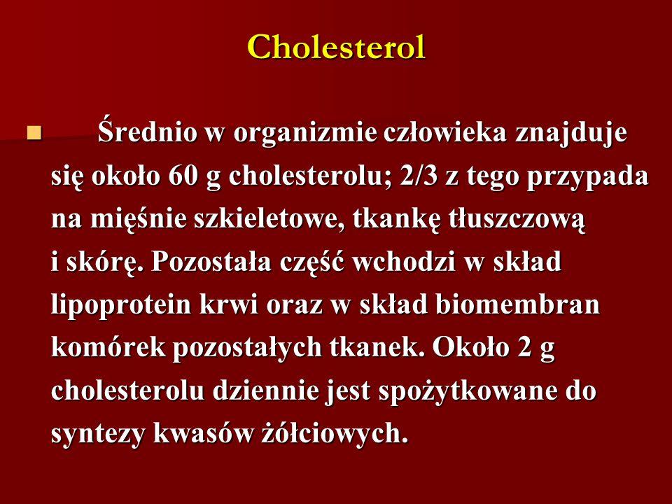 Cholesterol Średnio w organizmie człowieka znajduje Średnio w organizmie człowieka znajduje się około 60 g cholesterolu; 2/3 z tego przypada na mięśni