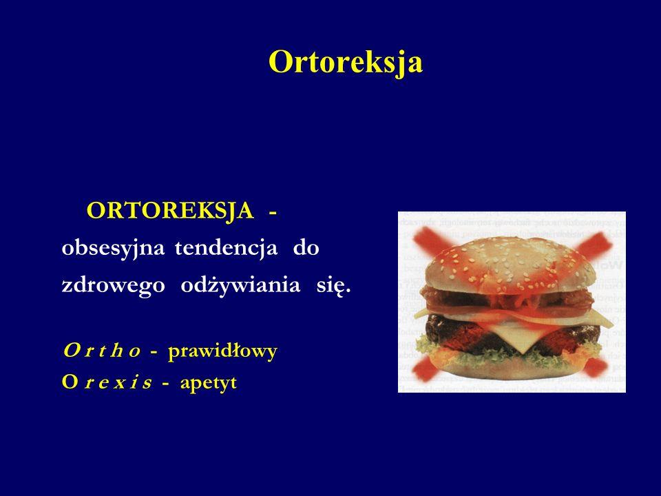 Ortoreksja ORTOREKSJA - obsesyjna tendencja do zdrowego odżywiania się. O r t h o - prawidłowy O r e x i s - apetyt