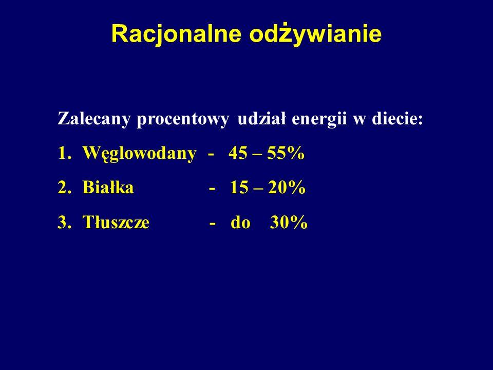 Racjonalne od ż ywianie Zalecany procentowy udział energii w diecie: 1.Węglowodany - 45 – 55% 2.Białka - 15 – 20% 3.Tłuszcze - do 30%
