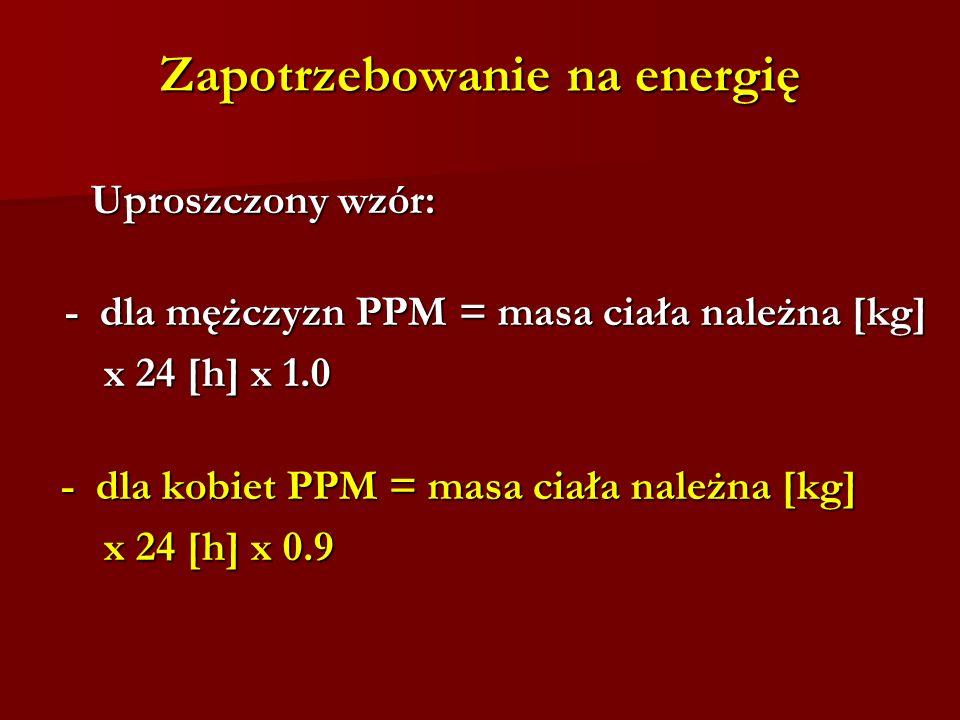 Zapotrzebowanie na energię Uproszczony wzór: Uproszczony wzór: - dla mężczyzn PPM = masa ciała należna [kg] x 24 [h] x 1.0 x 24 [h] x 1.0 - dla kobiet PPM = masa ciała należna [kg] - dla kobiet PPM = masa ciała należna [kg] x 24 [h] x 0.9 x 24 [h] x 0.9