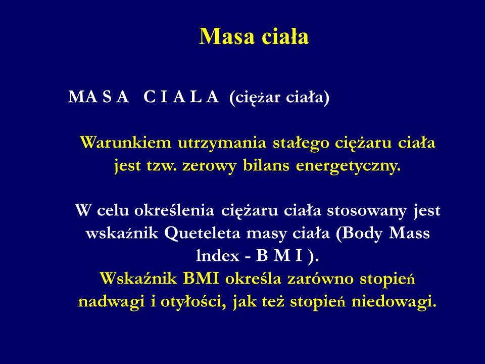 Masa ciała MA S A C I A L A (cię ż ar ciała) Warunkiem utrzymania stałego ciężaru ciała jest tzw. zerowy bilans energetyczny. W celu określenia ciężar