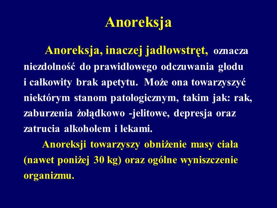 Anoreksja Anoreksja, inaczej jadłowstręt, oznacza niezdolność do prawidłowego odczuwania głodu i całkowity brak apetytu. Może ona towarzyszyć niektóry