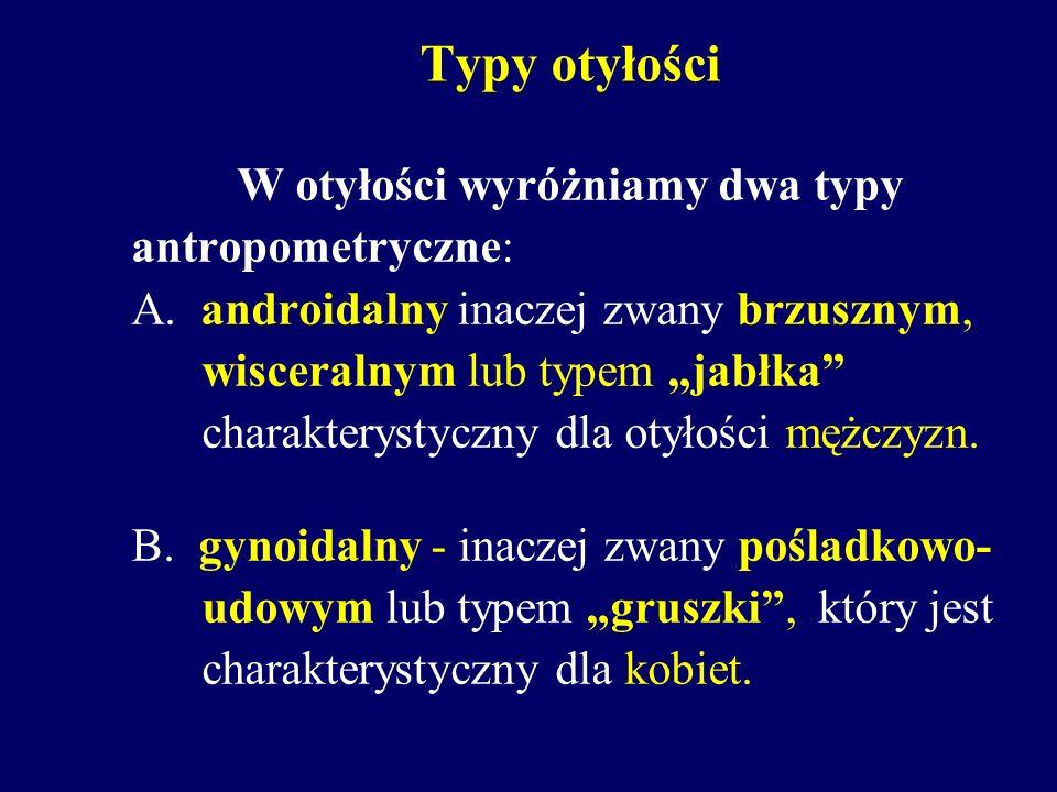 Typy otyłości W otyłości wyróżniamy dwa typy antropometryczne: A. androidalny inaczej zwany brzusznym, wisceralnym lub typem jabłka charakterystyczny