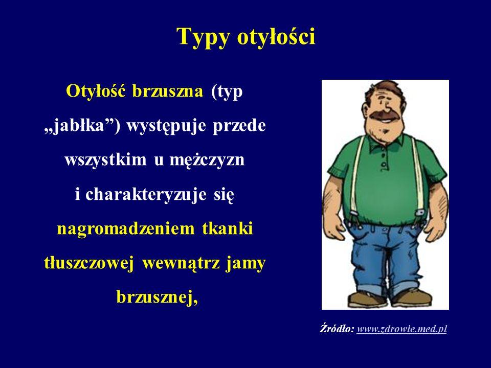 Typy otyłości Otyłość brzuszna (typ jabłka) występuje przede wszystkim u mężczyzn i charakteryzuje się nagromadzeniem tkanki tłuszczowej wewnątrz jamy