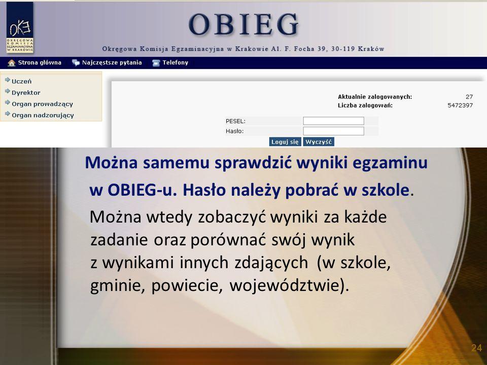 Można samemu sprawdzić wyniki egzaminu w OBIEG-u. Hasło należy pobrać w szkole.