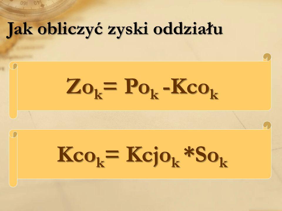 Jak obliczyć zyski oddziału Zo k = Po k -Kco k Kco k = Kcjo k *So k