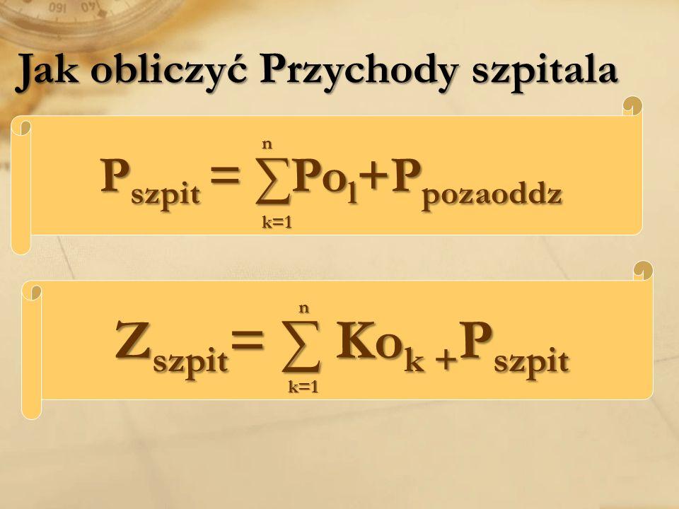 Jak obliczyć Przychody szpitala Z szpit = Ko k + P szpit P szpit = Po l +P pozaoddz k=1 n n k=1
