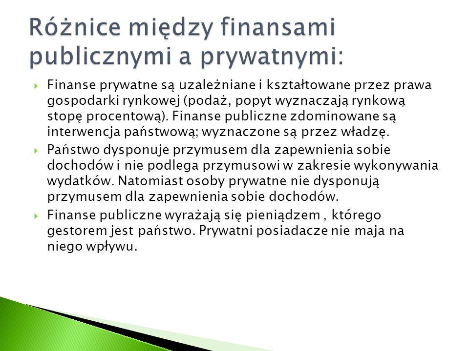 Finanse prywatne są uzależniane i kształtowane przez prawa gospodarki rynkowej (podaż, popyt wyznaczają rynkową stopę procentową). Finanse publiczne z