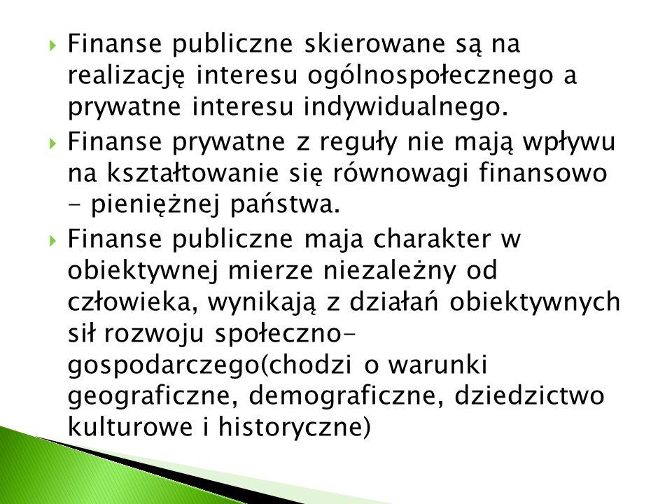 Finanse publiczne skierowane są na realizację interesu ogólnospołecznego a prywatne interesu indywidualnego. Finanse prywatne z reguły nie mają wpływu