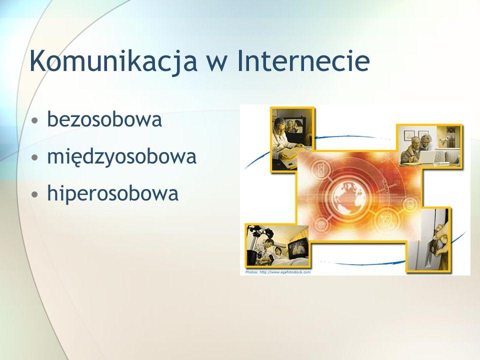 Komunikacja w Internecie bezosobowa międzyosobowa hiperosobowa