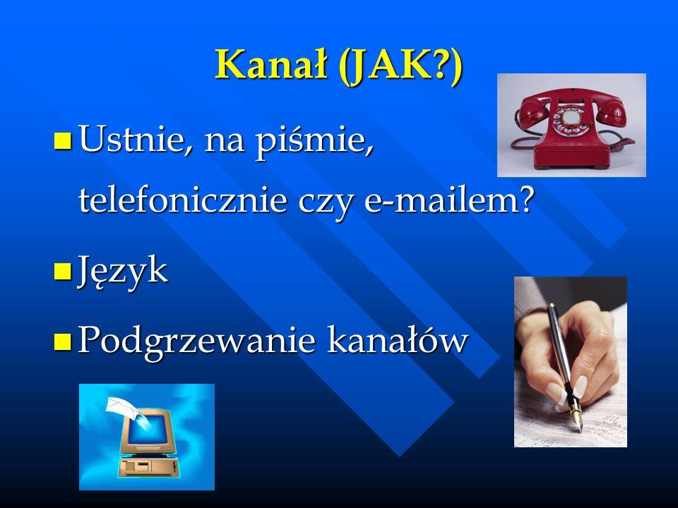 Kanał (JAK?) Ustnie, na piśmie, telefonicznie czy e-mailem? Ustnie, na piśmie, telefonicznie czy e-mailem? Język Język Podgrzewanie kanałów Podgrzewan