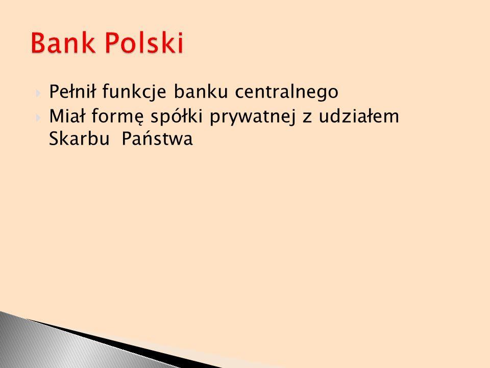Pełnił funkcje banku centralnego Miał formę spółki prywatnej z udziałem Skarbu Państwa