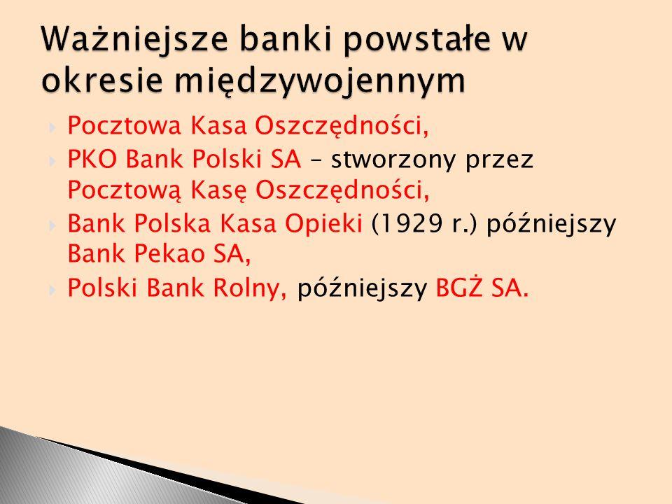 Pocztowa Kasa Oszczędności, PKO Bank Polski SA – stworzony przez Pocztową Kasę Oszczędności, Bank Polska Kasa Opieki (1929 r.) późniejszy Bank Pekao S