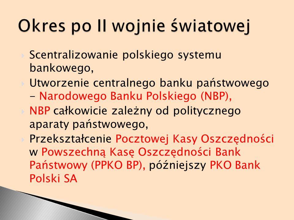 Scentralizowanie polskiego systemu bankowego, Utworzenie centralnego banku państwowego - Narodowego Banku Polskiego (NBP), NBP całkowicie zależny od p