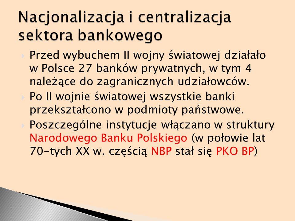 Przed wybuchem II wojny światowej działało w Polsce 27 banków prywatnych, w tym 4 należące do zagranicznych udziałowców. Po II wojnie światowej wszyst