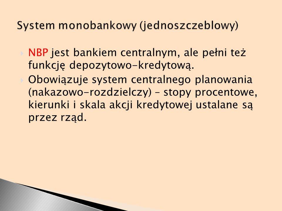 NBP jest bankiem centralnym, ale pełni też funkcję depozytowo-kredytową. Obowiązuje system centralnego planowania (nakazowo-rozdzielczy) – stopy proce