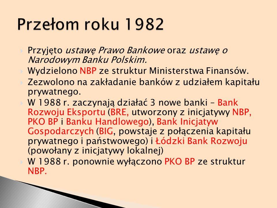 Przyjęto ustawę Prawo Bankowe oraz ustawę o Narodowym Banku Polskim. Wydzielono NBP ze struktur Ministerstwa Finansów. Zezwolono na zakładanie banków