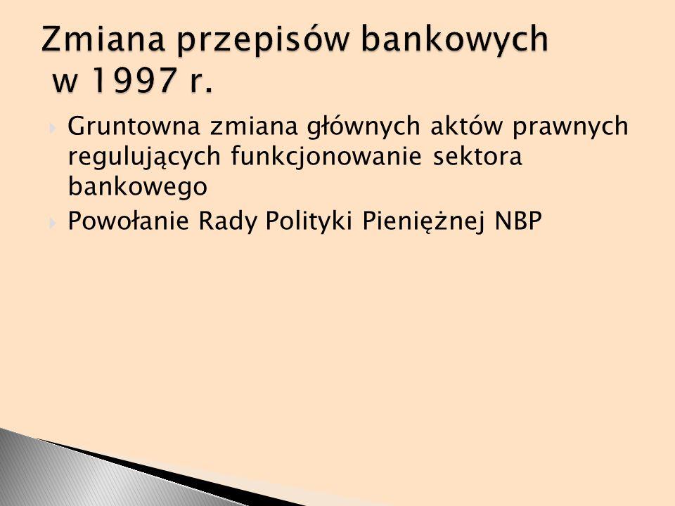 Gruntowna zmiana głównych aktów prawnych regulujących funkcjonowanie sektora bankowego Powołanie Rady Polityki Pieniężnej NBP