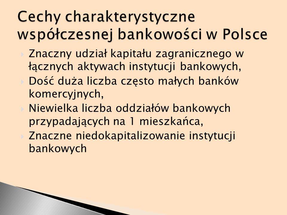 Znaczny udział kapitału zagranicznego w łącznych aktywach instytucji bankowych, Dość duża liczba często małych banków komercyjnych, Niewielka liczba o