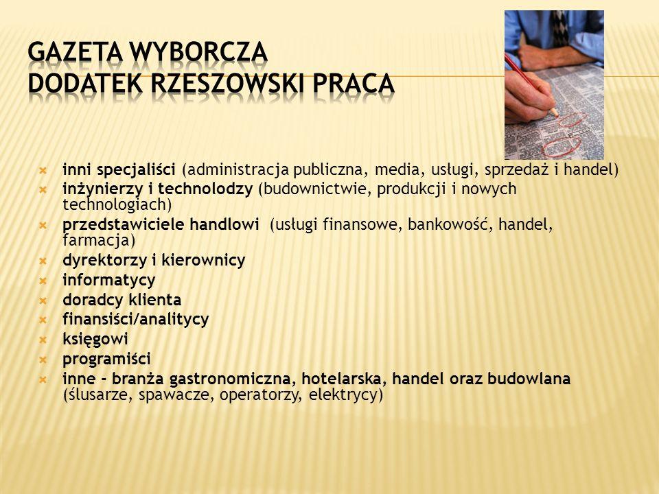 inni specjaliści (administracja publiczna, media, usługi, sprzedaż i handel) inżynierzy i technolodzy (budownictwie, produkcji i nowych technologiach)