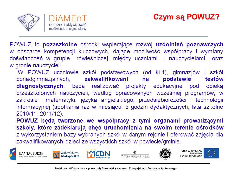 Projekt współfinansowany przez Unię Europejską w ramach Europejskiego Funduszu Społecznego POWUZ to pozaszkolne ośrodki wspierające rozwój uzdolnień p