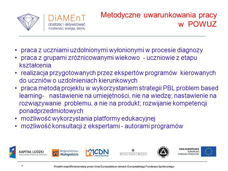 Projekt współfinansowany przez Unię Europejską w ramach Europejskiego Funduszu Społecznego praca z uczniami uzdolnionymi wyłonionymi w procesie diagno