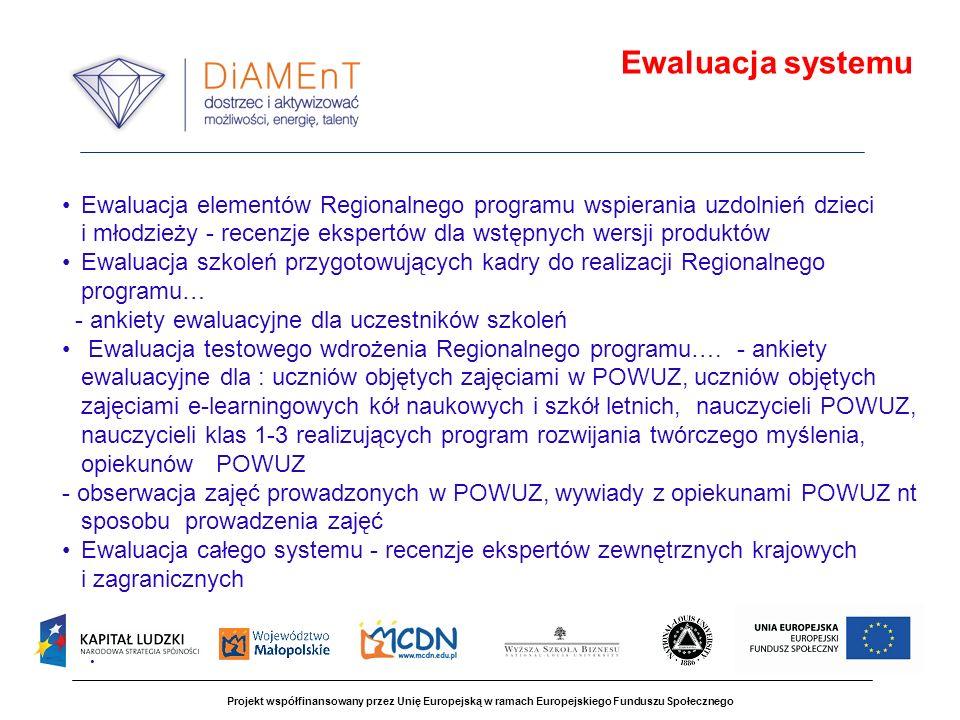 Projekt współfinansowany przez Unię Europejską w ramach Europejskiego Funduszu Społecznego Ewaluacja elementów Regionalnego programu wspierania uzdoln