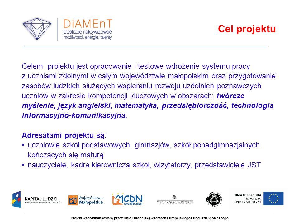 Projekt współfinansowany przez Unię Europejską w ramach Europejskiego Funduszu Społecznego Zajęcia wspierające rozwój uzdolnień Zajęcia pozaszkolne w Powiatowych Ośrodkach Wspierania Uczniów Zdolnych 186 ośrodków w całym województwie, 1076 grup, od 10760 do 21520 uczniów (3, 5% - 6,5% populacji uczniów w województwie), 107 600 godzin dydaktycznych zajęć w latach szkolnych 2010/2011 i 2011/2012 Elementy systemu pracy z uczniami zdolnymi
