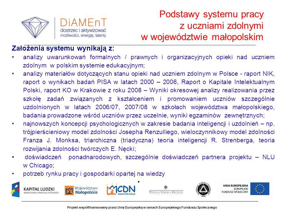 Projekt współfinansowany przez Unię Europejską w ramach Europejskiego Funduszu Społecznego Założenia systemu wynikają z: analizy uwarunkowań formalnyc