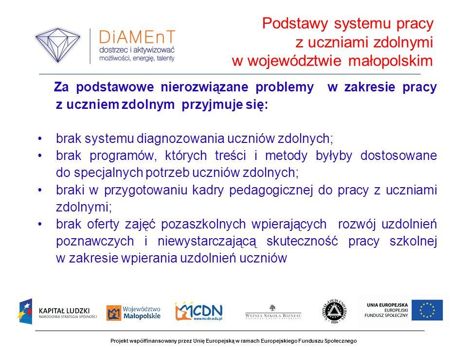 Projekt współfinansowany przez Unię Europejską w ramach Europejskiego Funduszu Społecznego Za podstawowe nierozwiązane problemy w zakresie pracy z ucz
