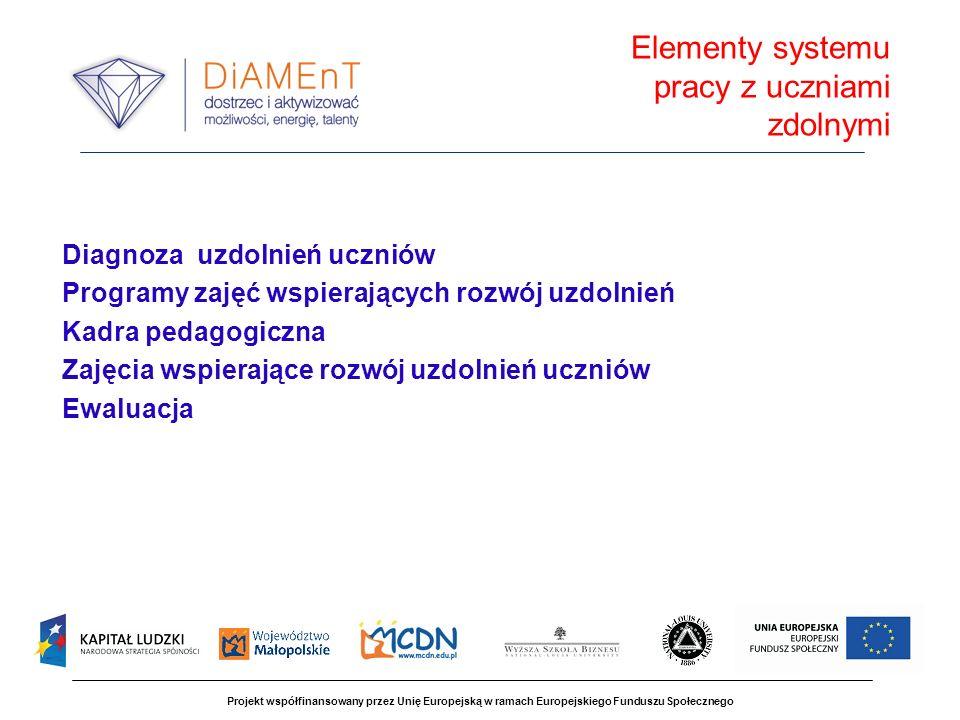 Projekt współfinansowany przez Unię Europejską w ramach Europejskiego Funduszu Społecznego bezpłatne programy i materiały metodyczne dla nauczycieli prowadzących zajęcia z uczniami wyłonionymi drogą diagnozy; środki na wynajem sal w szkołach; doposażenie szkół, w których zostaną uruchomione POWUZ w zestawy do projekcji multimedialnych (po zakończeniu projektu zostaną przekazane szkołom); bezpłatny dowóz na zajęcia dla uczniów szkół podstawowych i gimnazjów na terenach wiejskich; wynagrodzenia dla nauczycieli prowadzących zajęcia z uczniami; bieżąca koordynacja pracy POWUZ; bezpłatna opieka ze strony ekspertów i specjalistów projektu; konkursy i nagrody dla wyróżniających się nauczycieli i grup uczniów objętych zajęciami w POWUZ certyfikaty dla organów prowadzących i szkół współpracujących w prowadzeniu POWUZ w powiatach i gminach..