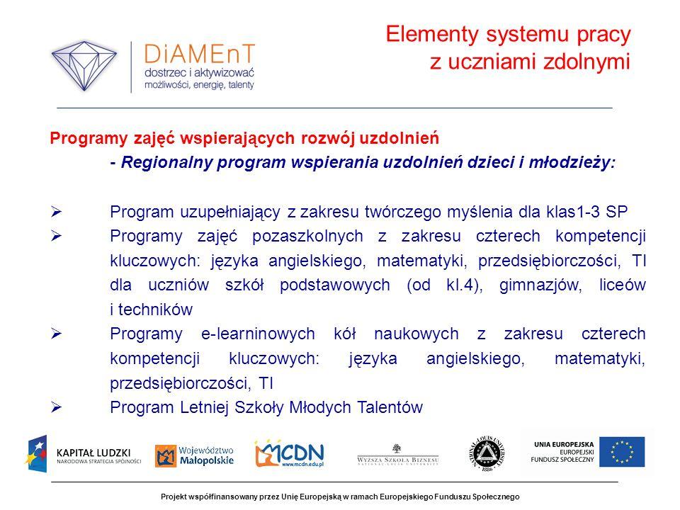 Projekt współfinansowany przez Unię Europejską w ramach Europejskiego Funduszu Społecznego Kadra pedagogiczna przygotowana do realizacji Regionalnego programu wspierania uzdolnień dzieci i młodzieży autorzy programów wspierania uzdolnień edukatorzy - specjaliści projektu z zakresu pracy z uczniem zdolnym Elementy systemu pracy z uczniami zdolnymi