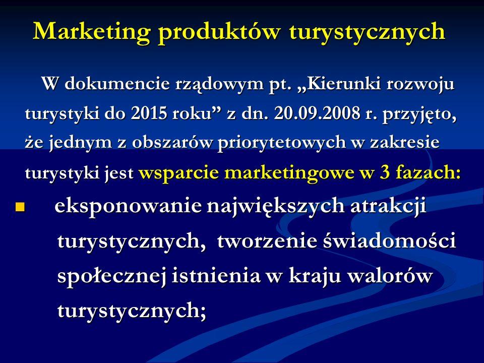 Marketing produktów turystycznych W dokumencie rządowym pt. Kierunki rozwoju W dokumencie rządowym pt. Kierunki rozwoju turystyki do 2015 roku z dn. 2