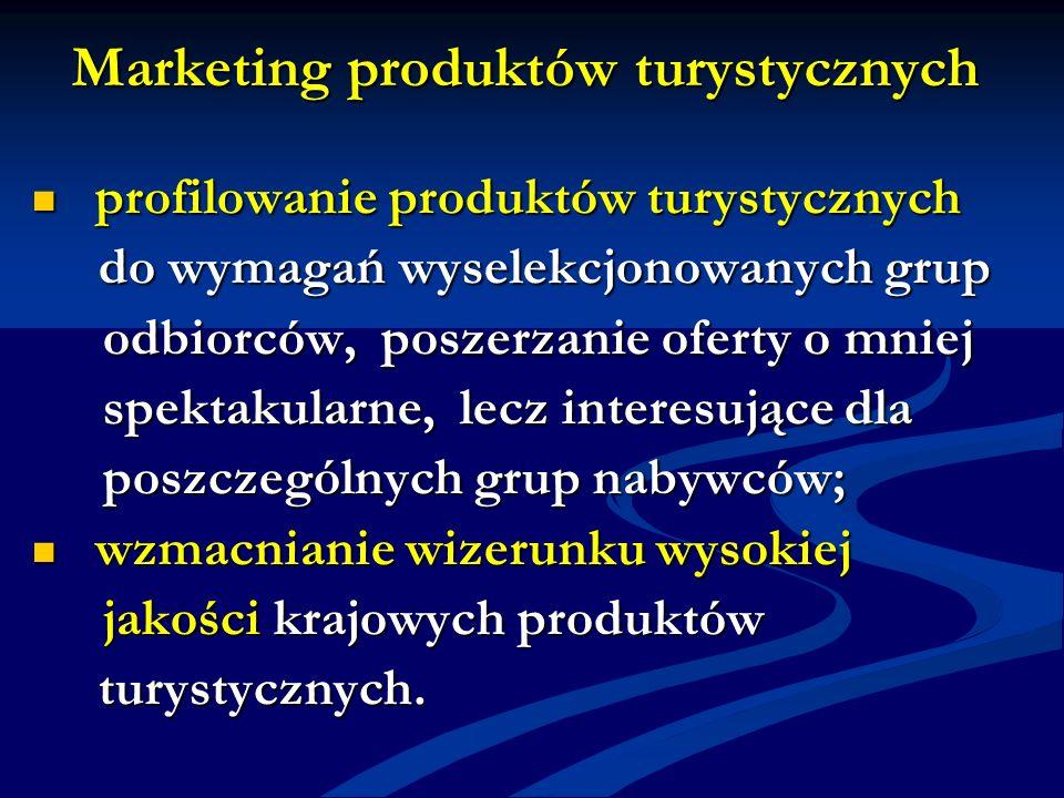 Marketing produktów turystycznych profilowanie produktów turystycznych profilowanie produktów turystycznych do wymagań wyselekcjonowanych grup do wyma