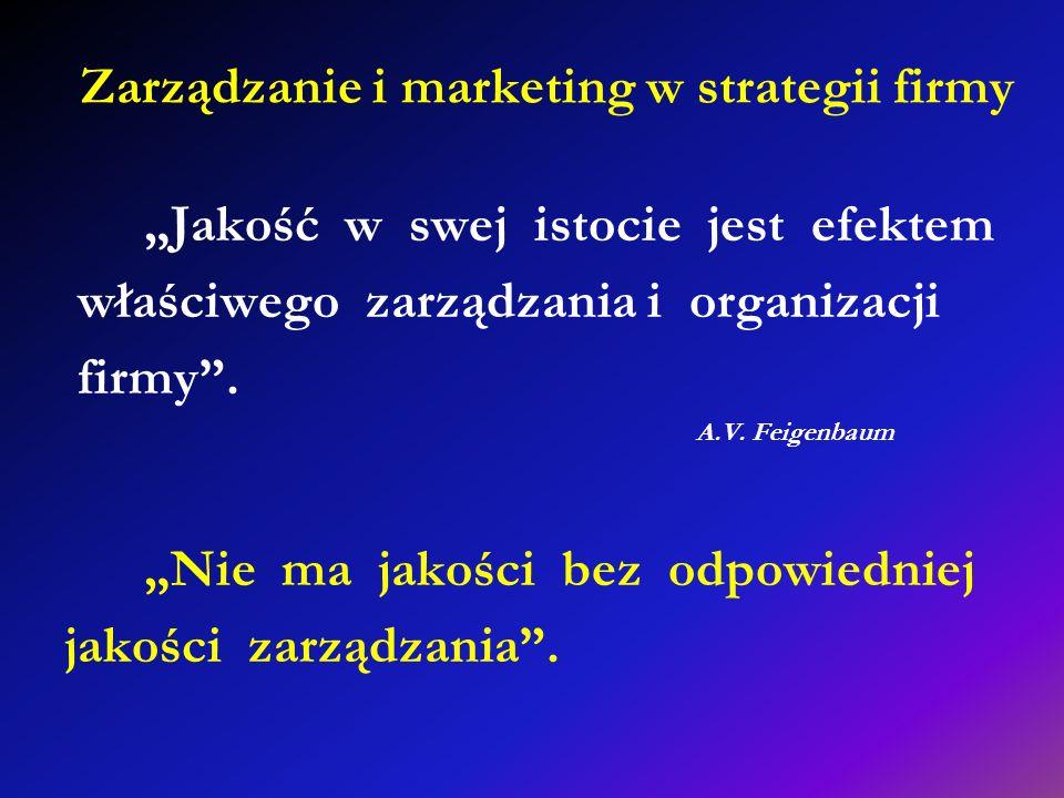 Zarządzanie i marketing w strategii firmy Jakość w swej istocie jest efektem właściwego zarządzania i organizacji firmy. A.V. Feigenbaum Nie ma jakośc