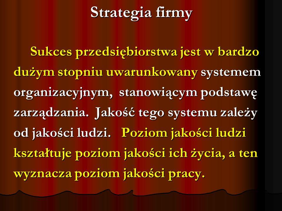 Strategia firmy Sukces przedsiębiorstwa jest w bardzo Sukces przedsiębiorstwa jest w bardzo dużym stopniu uwarunkowany systemem organizacyjnym, stanow