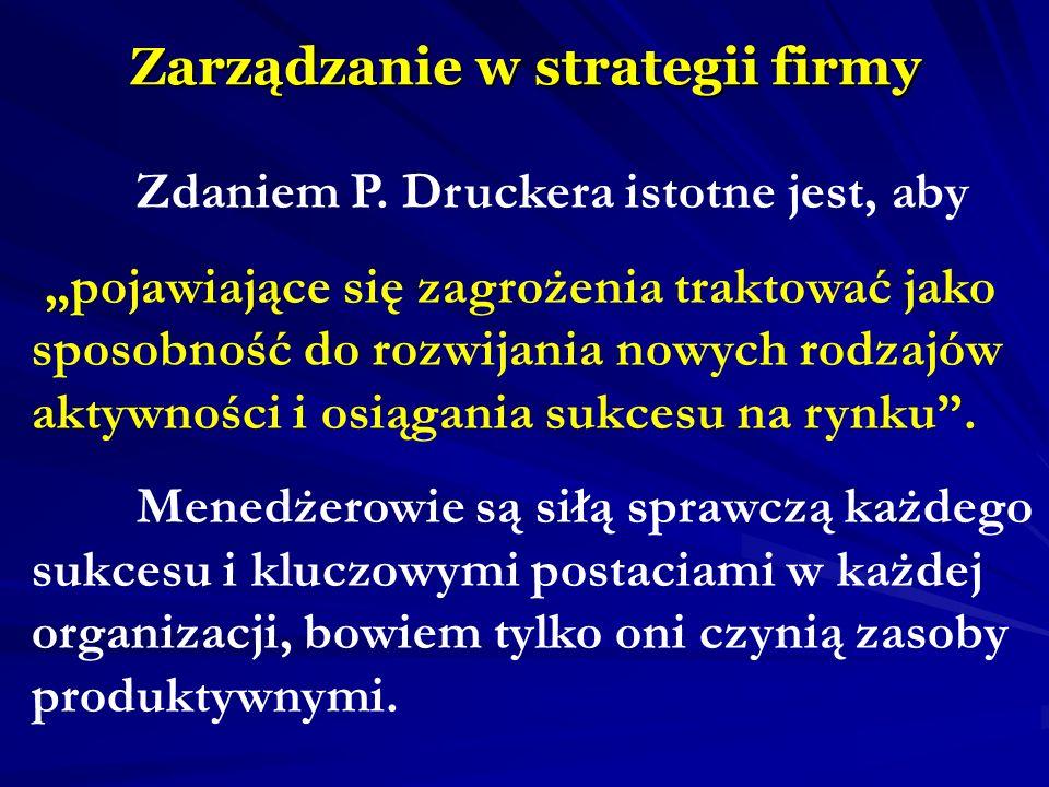 Zarządzanie w strategii firmy Zdaniem P. Druckera istotne jest, aby pojawiające się zagrożenia traktować jako sposobność do rozwijania nowych rodzajów