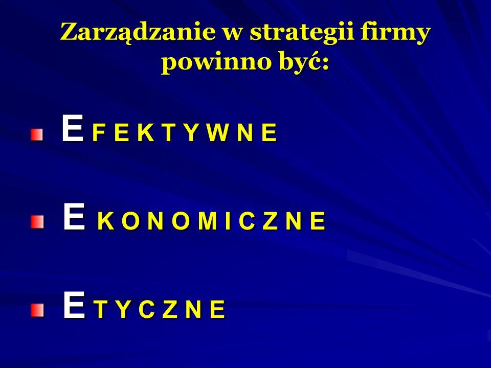 Zarządzanie w strategii firmy powinno być: E F E K T Y W N E E F E K T Y W N E E K O N O M I C Z N E E K O N O M I C Z N E E T Y C Z N E E T Y C Z N E