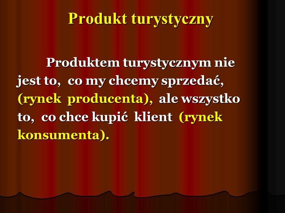 Produkt turystyczny Produktem turystycznym nie jest to, co my chcemy sprzedać, (rynek producenta), ale wszystko to, co chce kupić klient (rynek konsum